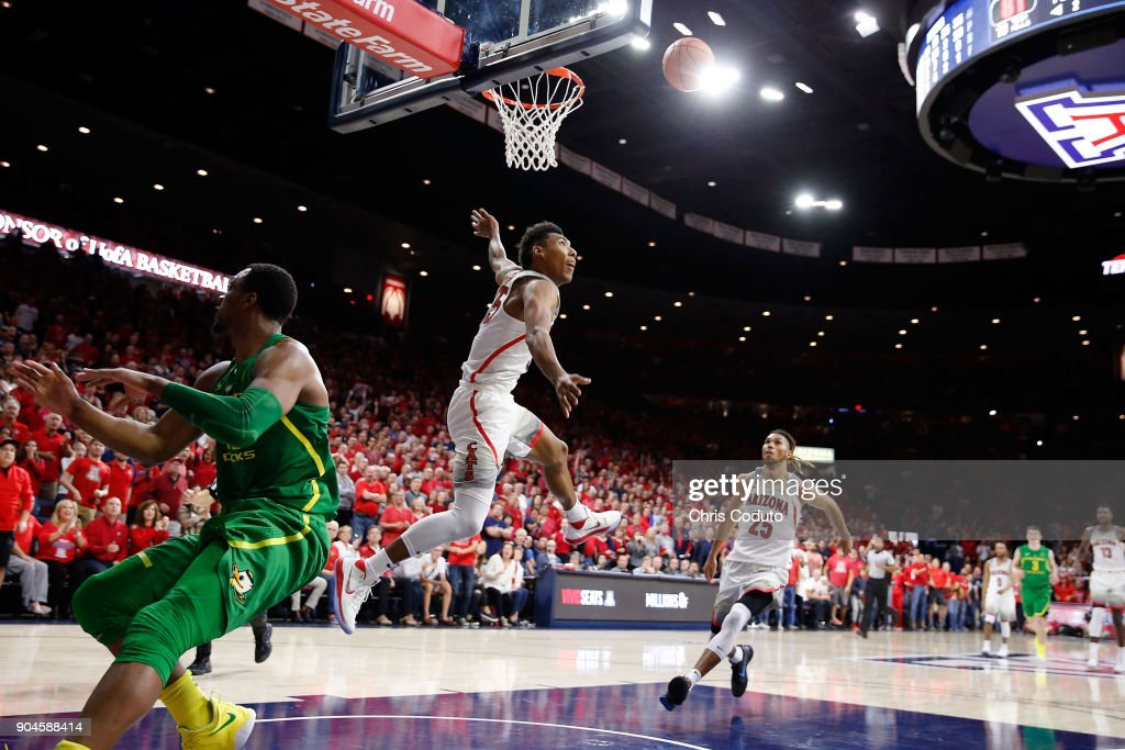 Allonzo Trier #35 of the Arizona Wildcats watches his shot during the second half of the college basketball game against the Oregon Ducks at McKale Center on January 13, 2018 in Tucson, Arizona. The Wildcats beat the Ducks 90-83.