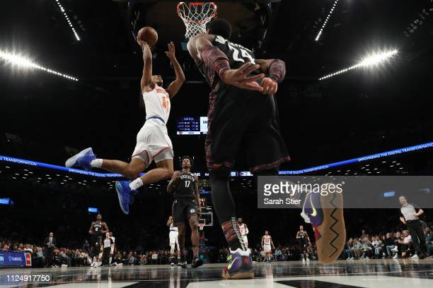 Allonzo Trier of the New York Knicks attempts a layup during the fourth quarter of the game against the Brooklyn Nets at Barclays Center on January...