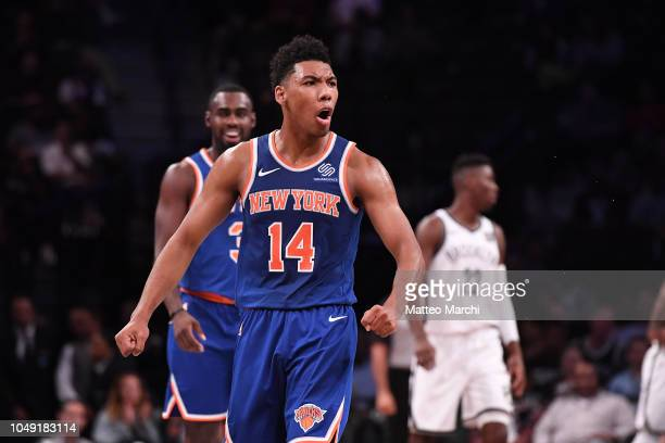 Allonzo Trier of the New York Knicks celebrates during the preseason game against the Brooklyn Nets at Barclays Center on October 3 2018 in the...