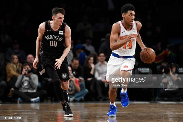 Allonzo Trier of the New York Knicks dribbles the ball during the fourth quarter of the game against the Brooklyn Nets at Barclays Center on January...