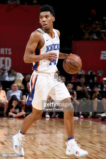 Allonzo Trier of the New York Knicks handles the ball against the Los Angeles Lakers during the 2018 Las Vegas Summer League on July 10 2018 at the...