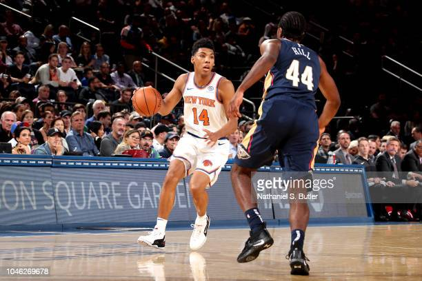 Allonzo Trier of the New York Knicks handles the ball against the New Orleans Pelicans during a preseason game on October 5 2018 at Madison Square...