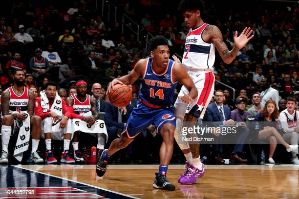 Allonzo Trier of the New York Knicks handles the ball against the Washington Wizards during preseason game on October 1 2018 at Capital One Arena in...