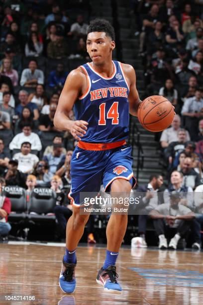 Allonzo Trier of the New York Knicks handles the ball against the Brooklyn Nets during a preseason game on October 3 2018 at Barclays Center in...