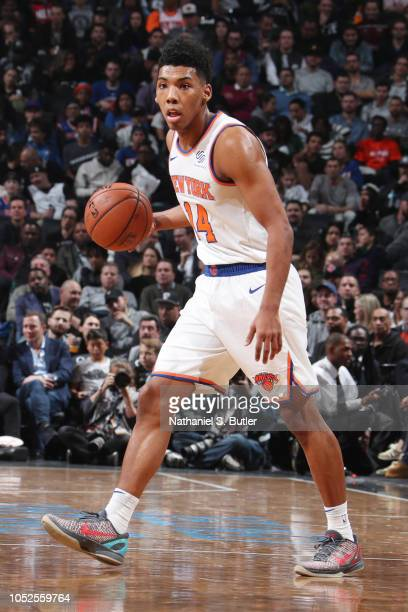 Allonzo Trier of the New York Knicks handles the ball against the Brooklyn Nets on October 19 2018 at Barclays Center in Brooklyn New York NOTE TO...
