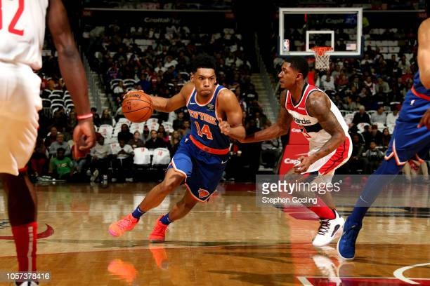 Allonzo Trier of the New York Knicks handles the ball against the Washington Wizards on November 4 2018 at Capital One Arena in Washington DC NOTE TO...