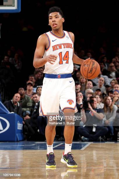 Allonzo Trier of the New York Knicks handles the ball against the Chicago Bulls on November 5 2018 at Madison Square Garden in New York City New York...