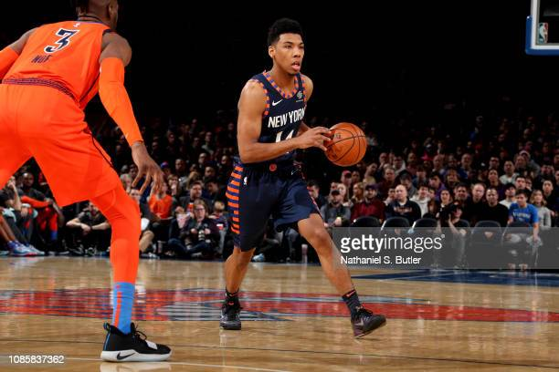 Allonzo Trier of the New York Knicks handles the ball against the Oklahoma City Thunder on January 21 2019 at Madison Square Garden in New York City...