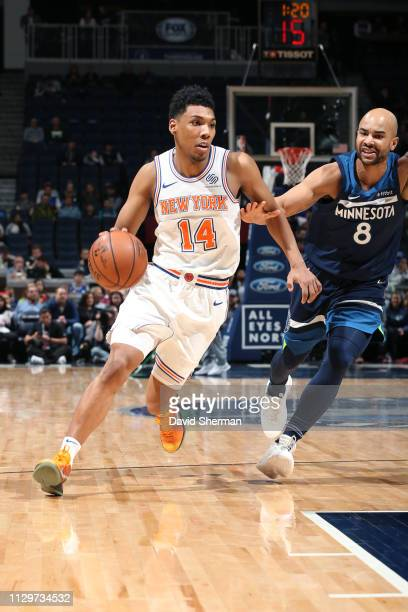 Allonzo Trier of the New York Knicks handles the ball against the Minnesota Timberwolves on March 10 2019 at Target Center in Minneapolis Minnesota...