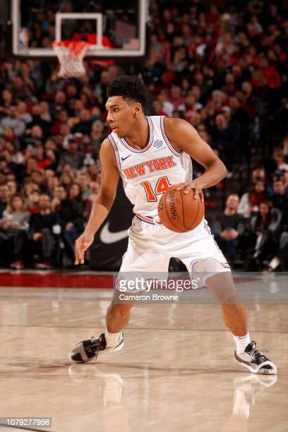 Allonzo Trier of the New York Knicks handles the ball during the game against the Portland Trail Blazers on January 7 2019 at the Moda Center Arena...