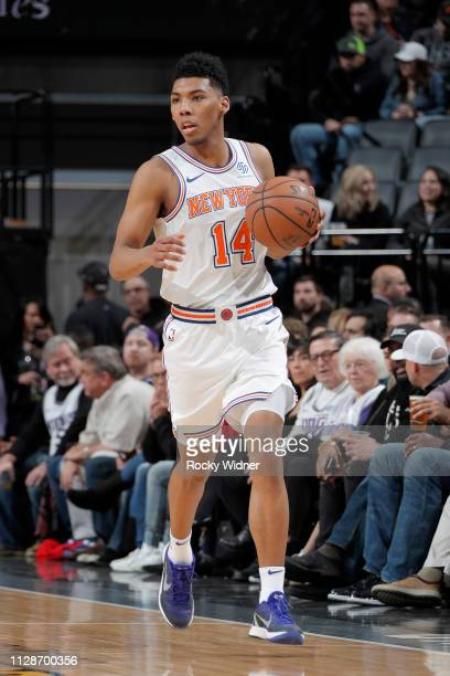 Allonzo Trier of the New York Knicks handles the ball during the game against the Sacramento Kings on March 4 2019 at Golden 1 Center in Sacramento...
