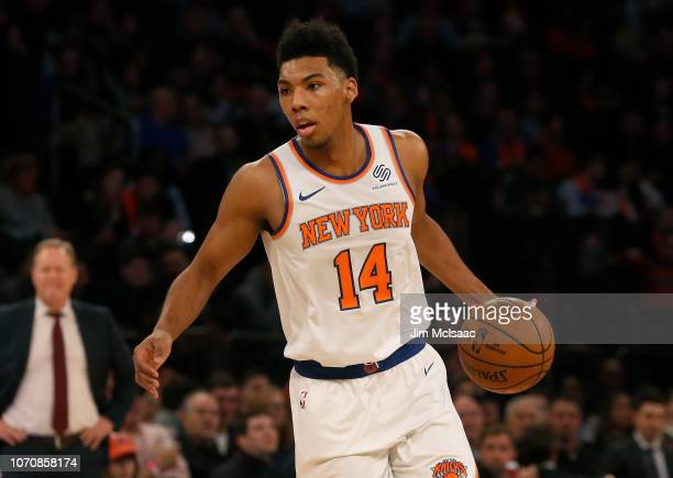 Allonzo Trier of the New York Knicks in action against the Milwaukee Bucks at Madison Square Garden on December 1 2018 in New York City The Knicks...