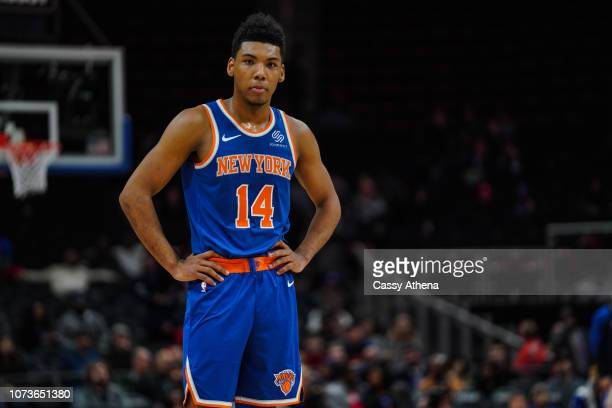 Allonzo Trier of the New York Knicks looks on against the Detroit Pistons on November 27 2018 at Little Caesars Arena in Detroit Michigan