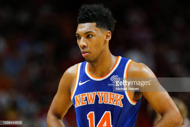 Allonzo Trier of the New York Knicks looks on against the Miami Heat during the second half at American Airlines Arena on October 24 2018 in Miami...