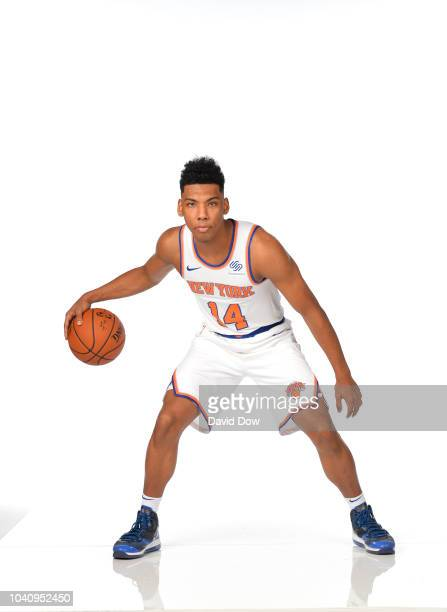 Allonzo Trier of the New York Knicks poses for a portrait during the New York Knicks Media Day on September 24 2018 at the MSG Training Facility in...