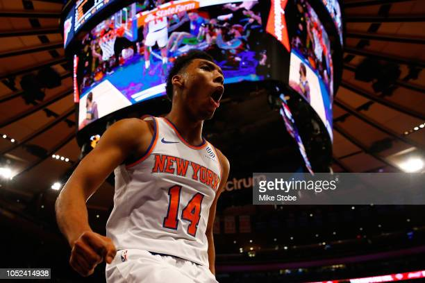 Allonzo Trier of the New York Knicks reacts during the game against the Atlanta Hawks at Madison Square Garden on October 17 2018 in New York City