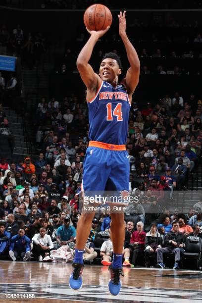 Allonzo Trier of the New York Knicks shoots the ball against the Brooklyn Nets during a preseason game on October 3 2018 at Barclays Center in...