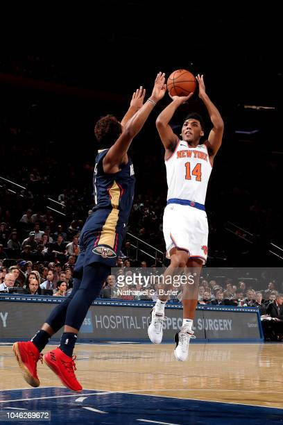 Allonzo Trier of the New York Knicks shoots the ball against the New Orleans Pelicans during a preseason game on October 5 2018 at Madison Square...