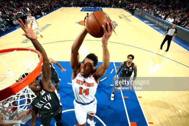 Allonzo Trier of the New York Knicks shoots the ball against the Brooklyn Nets on October 29 2018 at Madison Square Garden in New York City New York...