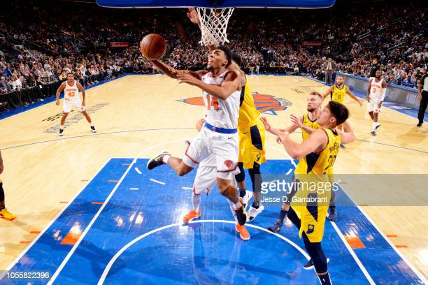 Allonzo Trier of the New York Knicks shoots the ball against the Indiana Pacers on October 31 2018 at Madison Square Garden in New York City New York...