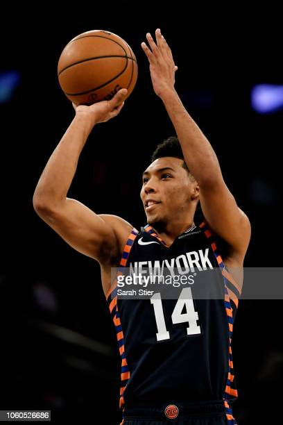 Allonzo Trier of the New York Knicks shoots the ball in the third quarter during the game against Orlando Magic at Madison Square Garden on November...