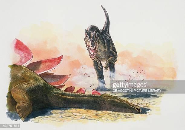 Allosaurus fragilis Allosauridae comes across the body of a big Stegosaurus sp Stegosauridae in a driedup lagoon Late Jurassic Artwork by James Robins