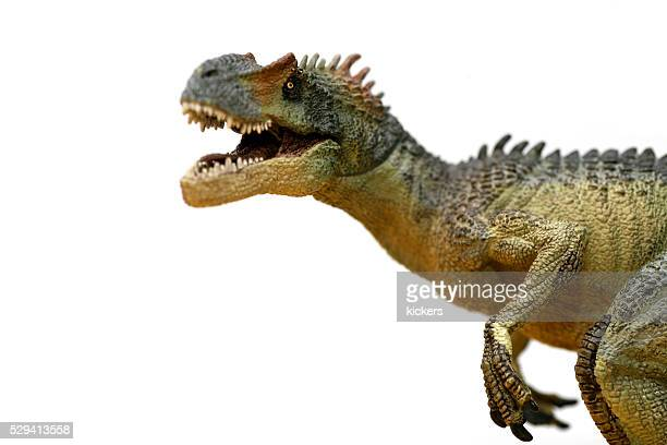 Allosaurus plastic model roaring at camera