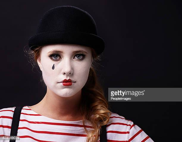 allow me to mime a sad story - sad clown stock photos and pictures