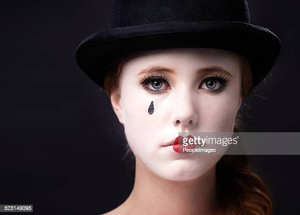 allow me to mime a story - sad clown stock photos and pictures