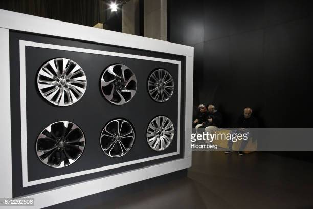 Alloy wheel hub designs for Adam Opel AG automobiles sit on display at the Istanbul Autoshow in Buyukcekmece Turkey on Sunday April 23 2017 The show...