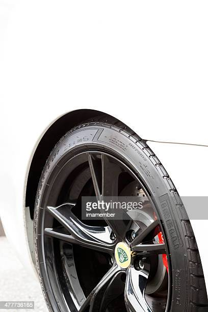 Alloy wheel of white Lotus car, copy space