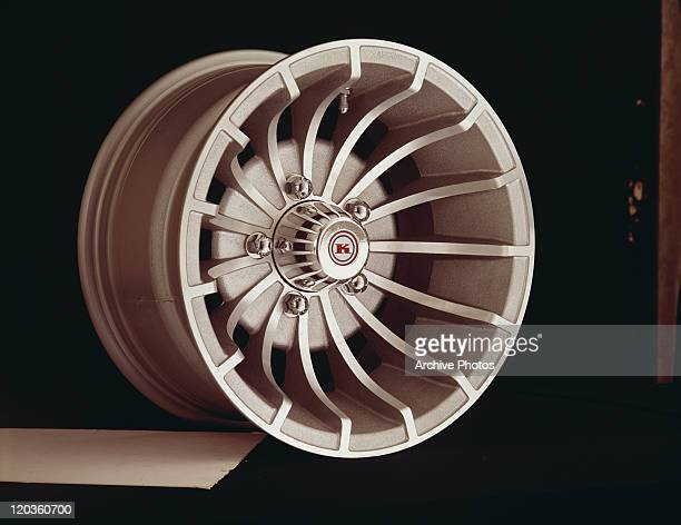 Alloy wheel on black background, close-up