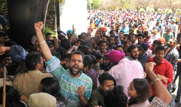 Allparty protests for fee hike outside VC office at Panjab University on April 11 2017 in Chandigarh India The fee hike for the 201718 session...