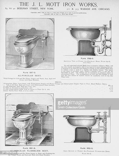 Allporcelain flushingrim bidet illustration from a catalog 1885 From the New York Public Library