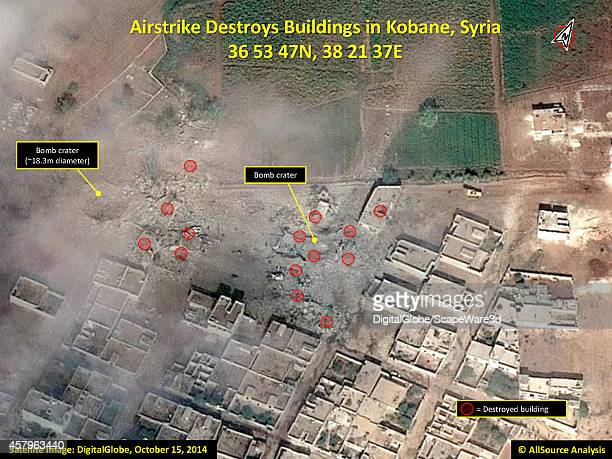 AllSource Analysis of DigitalGlobe Imagery from October 15th showing the destroyed buildings from the Airstrikes in Kobane Syria