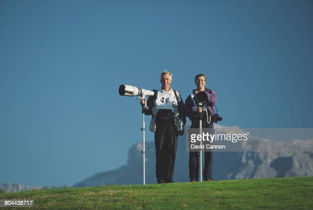 Allsport photographers David Cannon and Andrew Redington during the Canon European Masters Golf Tournament on 5 September 1996 at the...