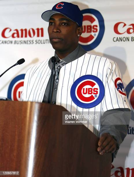 AllStar Alfonso Soriano newly signed by the Chicago Cubs sporting the fifthlargest contract in the Major Leagues meets the Chicago media at the...