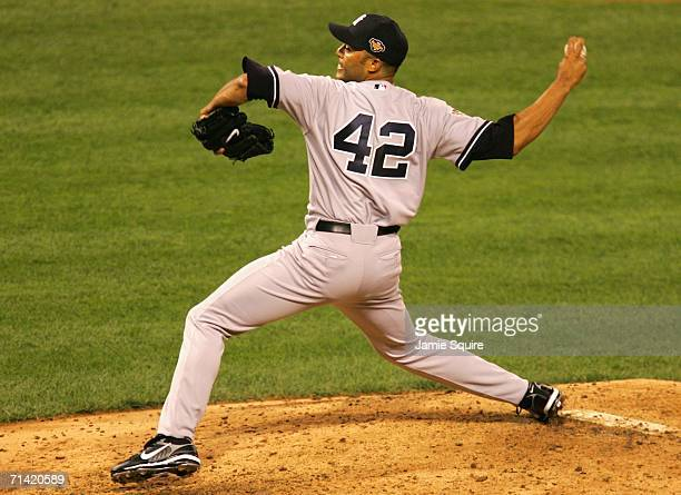 AllStar American League AllStar Mariano Rivera of the New York Yankees pitches in the ninth inning during the 77th MLB AllStar Game at PNC Park on...