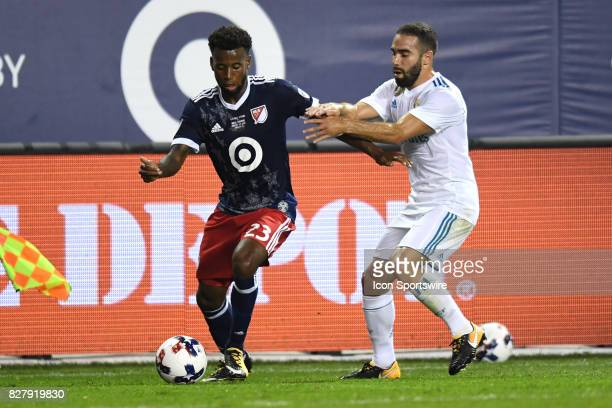 AllStar and FC Dallas Midfielder Kellyn Acosta and Real Madrid defender Dani Carvajal battle for the ballin the second half during a soccer match...