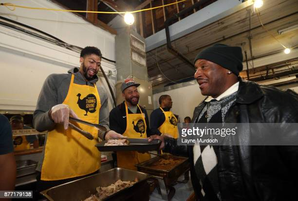 AllStar and New Orleans Pelican forward Anthony Davis and his family feed the homeless on November 19 2017 at the New Orleans Homeless Mission in New...