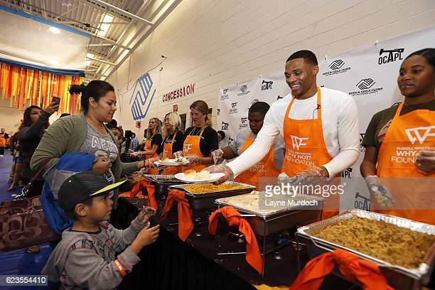AllStar and Oklahoma City Thunder point guard Russell Westbrook and hosts his 5th Annual Thanksgiving Dinner on November 15 2016 at the Boys and...