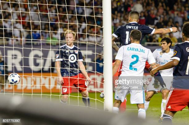 AllStar and Orlando City FC Forward Dom Dwyer scores on a header past Real Madrid goalkeeper Luca Zidane in the second half during a soccer match...