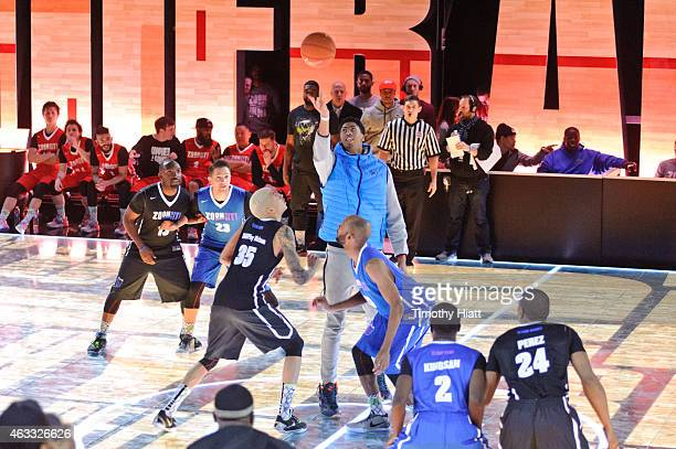 AllStar Anthony Davis takes part in the Nike Zoom City Classic basketball tournament featuring their LED court at Nike Zoom Arena on February 12 2015...