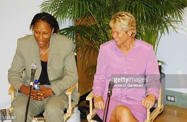AllStar Chamique Holdsclaw of the Washington Mystics and Basketball Hall of Famer Ann MeyersDrysdale sit on a panel which discussed the Impact of...