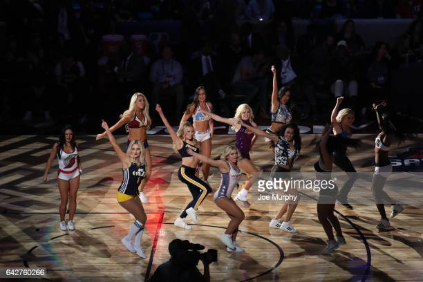 AllStar Dance Team performs during the JBL ThreePoint Contest during State Farm AllStar Saturday Night as part of the 2017 NBA AllStar Weekend on...