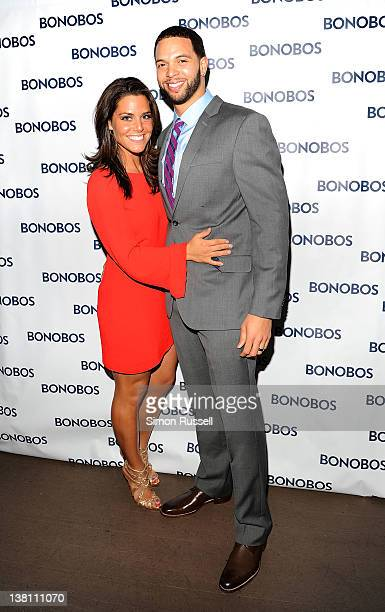 AllStar Deron Williams and his wife Amy Williams attend the Bonobos New Foundation Suit Collection launch at Catch Roof on February 2 2012 in New...