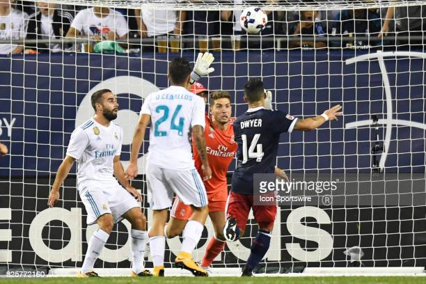 AllStar Dom Dwyer heads the ball in for a goal against Real Madrid goalkeeper Luca Zidanein the second half during a soccer match between the MLS...