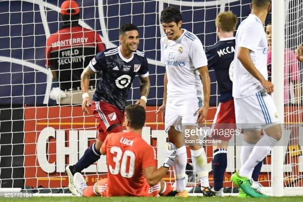 AllStar Dom Dwyer reacts after scoring a goal against Real Madrid goalkeeper Luca Zidanein the second half during a soccer match between the MLS...
