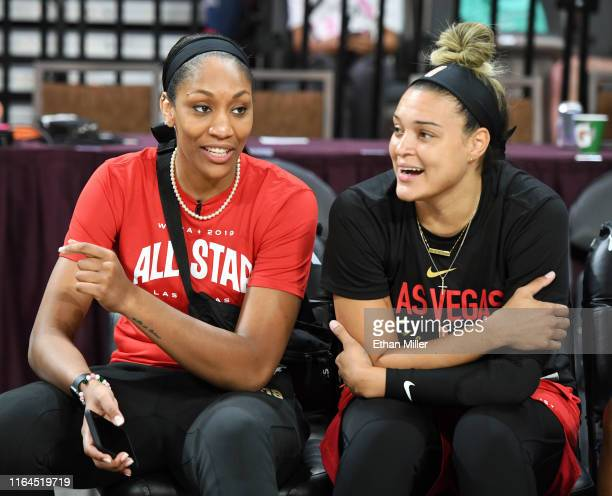 AllStar Game 2019 team captain A'ja Wilson of the Las Vegas Aces and her teammate Kayla McBride talk before the Skills Challenge and 3Point Contest...