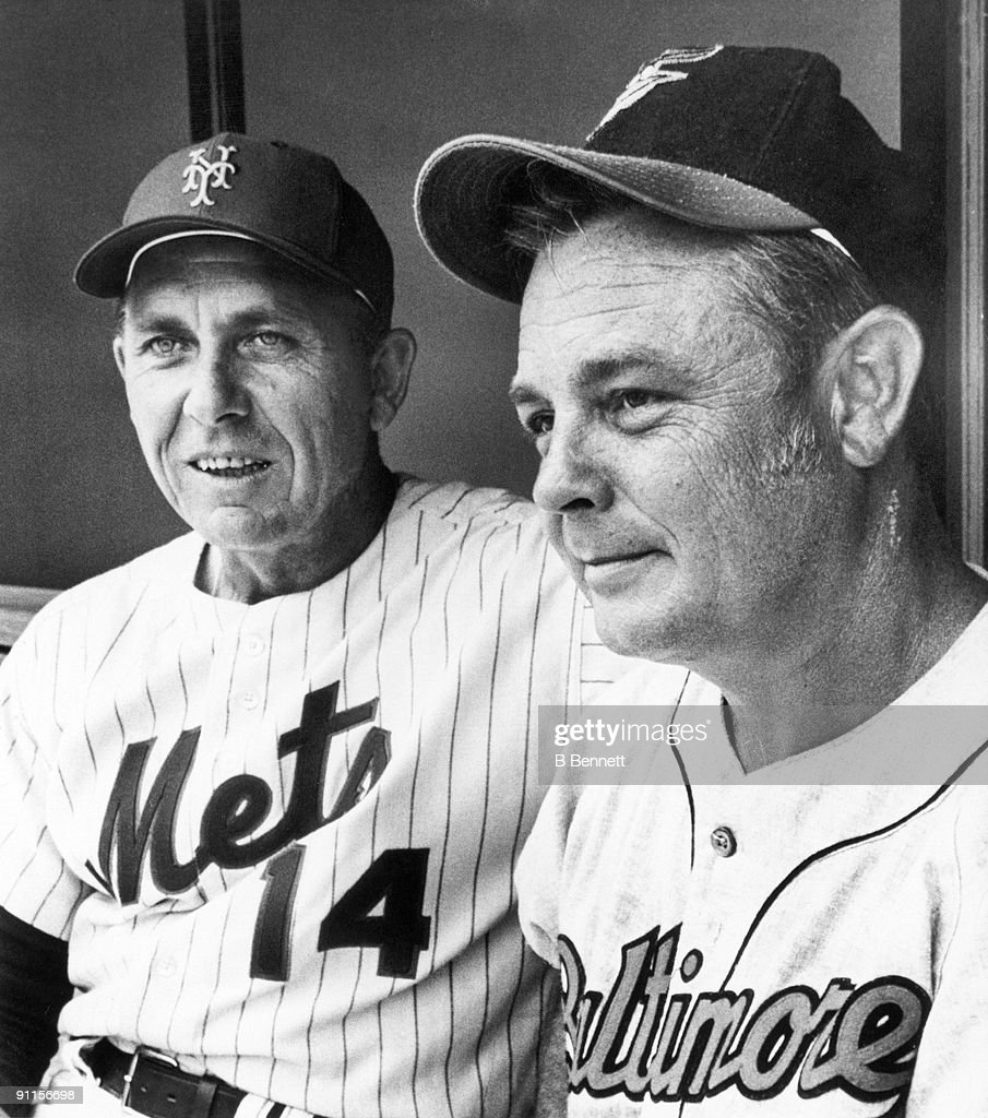 All-Star Game managers Gil Hodges of the New York Mets and Earl Weaver of the Baltimore Orioles meet before the game at Riverfront Stadium on July 14, 1970 in Cincinnati, Ohio.